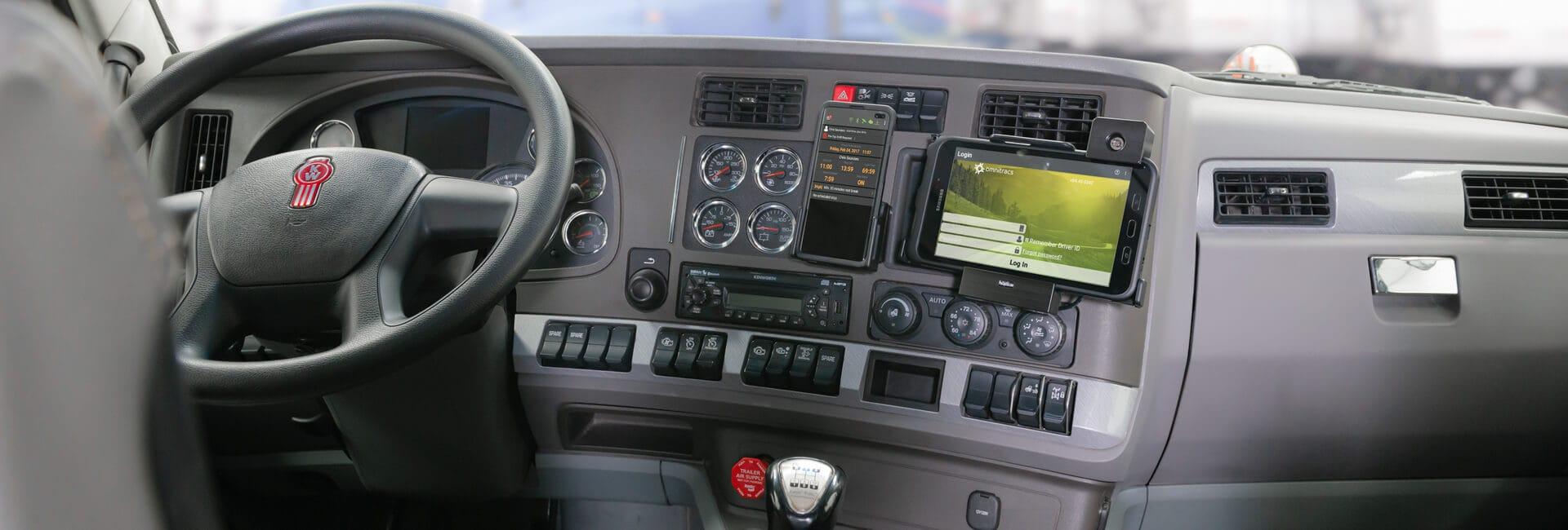 Samsung Geräte mit Brodit Halter in einem Lastwagen